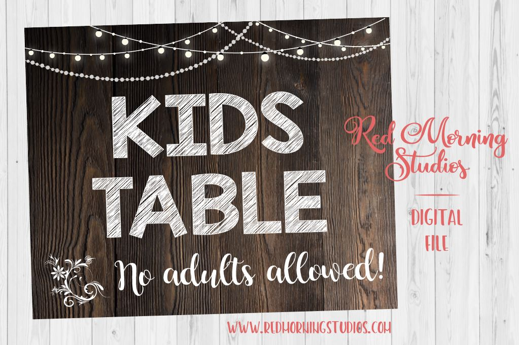 picture about Wedding Sign Printable named Small children Desk Marriage ceremony Indicator PRINTABLE. Rustic