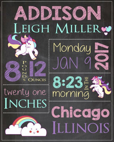 Unicorn birth announcement sign. Unicorn nursery art print. PRINTABLE new baby Unicorn Birth Stats. Unicorn birth statistics chalkboard