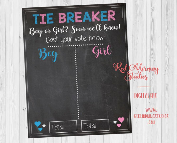 Tiebreaker Gender Reveal Guess sign. PRINTABLE. Boy or Girl Gender Guess sign. baby shower chalkboard poster. gender reveal party game