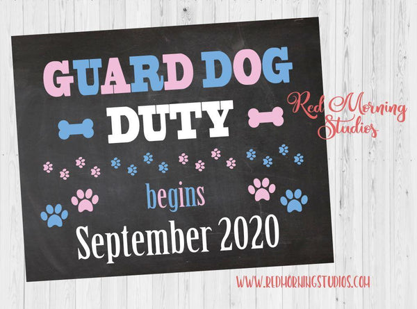 Guard Dog Pregnancy Announcement Sign. Dog Pregnancy Reveal Poster. New Baby sign.