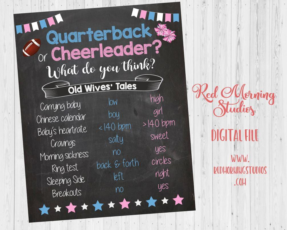 Quarterback or Cheerleader Old Wives' Tales sign. Football or Cheerleading gender reveal. PRINTABLE baby shower poster boy or girl