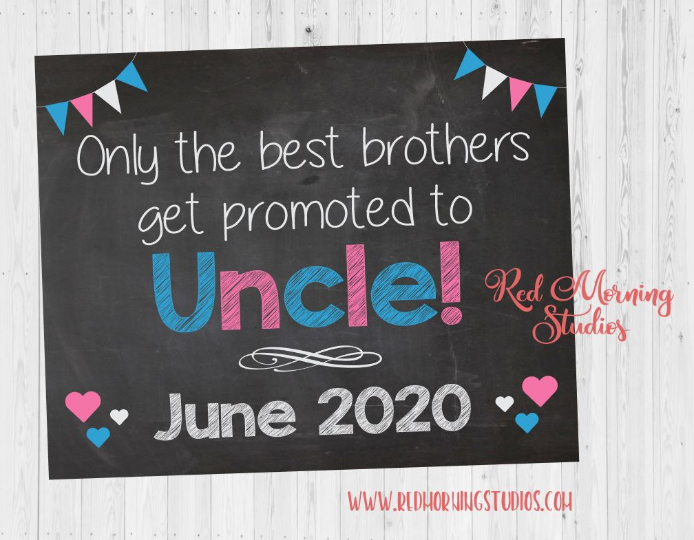 Uncle Announcement sign. Uncle New Baby Reveal. You're Going to be an Uncle Pregnancy announcement. best brothers get promoted