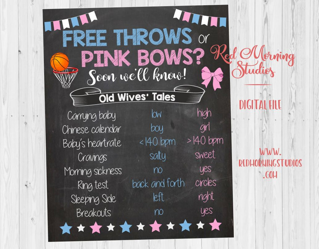 Free Throws or Pink Bows Old Wives' Tales sign PRINTABLE. Gender Reveal Guess sign. basketball or cheerleading.  poster boy or girl