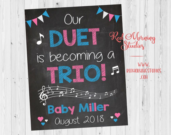 Music Pregnancy Announcement sign. musician pregnancy reveal poster. singer new baby chalkboard. duet becoming a trio. guitar. piano. band