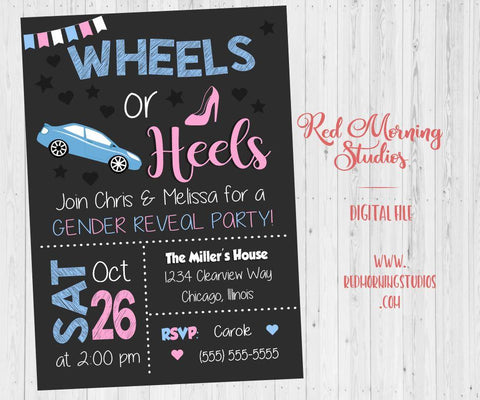 Wheels or Heels Invitation Gender Reveal Party PRINTABLE baby shower invite digital boy or girl he or she what will it be