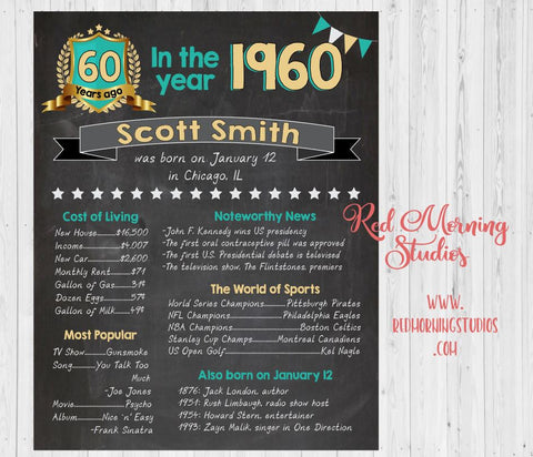 60th Birthday sign. On this day. 1960. year PRINTABLE custom adult birthday party decoration poster. 60th birthday decoration