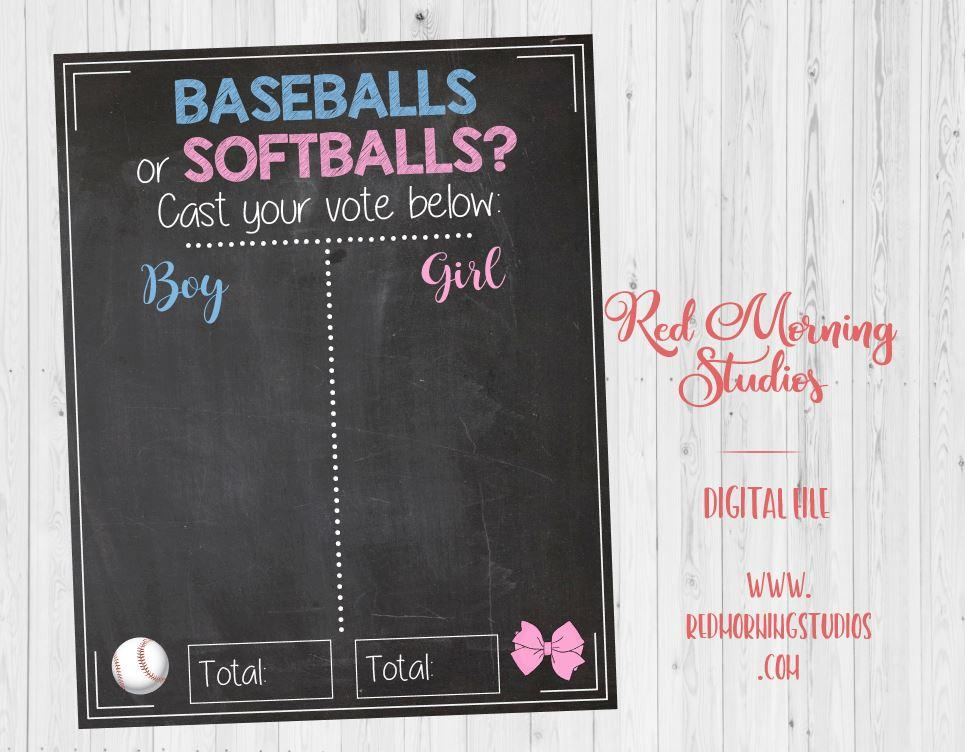 Baseballs or Softballs Gender Reveal Guess sign. PRINTABLE. Baseball gender reveal party. baby shower chalkboard poster boy or girl