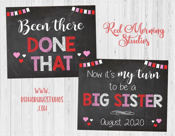 Valentine's Day Baby #3 Pregnancy Announcement. Been There Done That New Baby. Valentine's Day Siblings big brother sister three. red pink