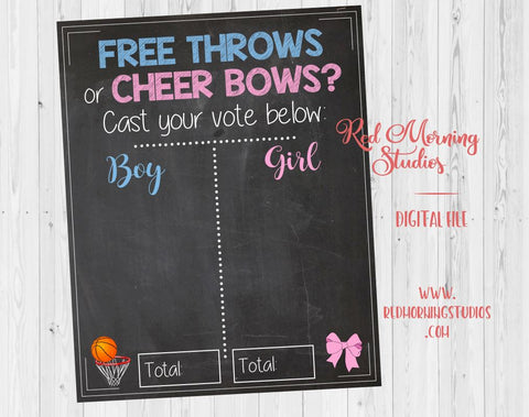 Free Throws or Cheer Bows. PRINTABLE. Gender Reveal Guess sign. basketball or cheerleading gender reveal party theme