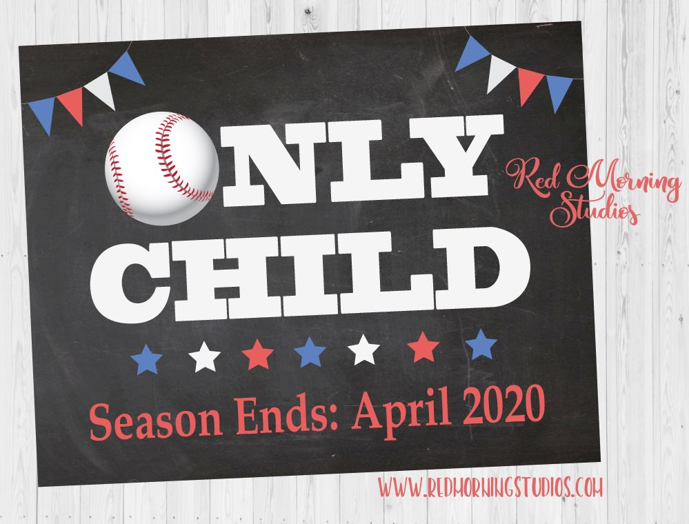 Baseball Pregnancy Announcement Sign. Only Child Baseball Pregnancy Reveal poster. Big Brother sign. Season ends