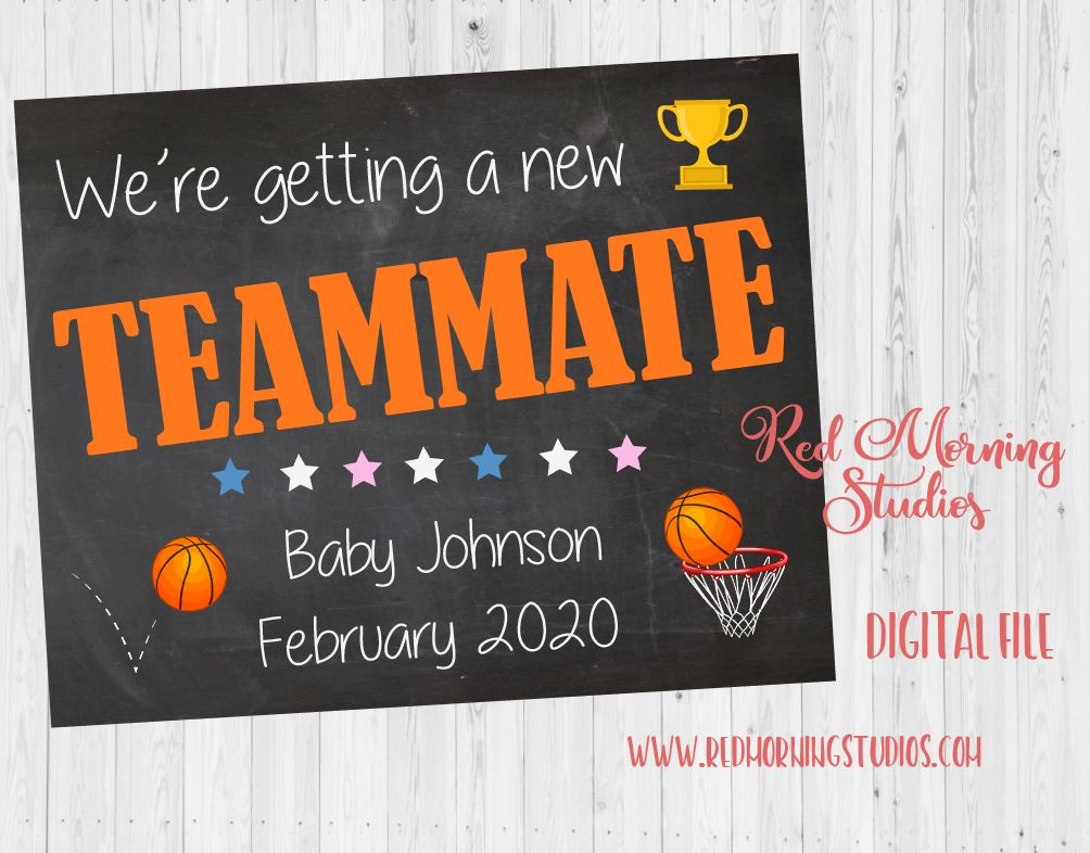 Basketball Pregnancy Announcement sign. Basketball New Baby pregnancy reveal. Teammate. athlete. DIGITAL  poster. photo prop. bball
