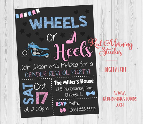 Motorcycle Wheels or Heels Invitation. Gender Reveal Invitation. PRINTABLE. Wheels or Heels baby shower. invite digital boy or girl. bike