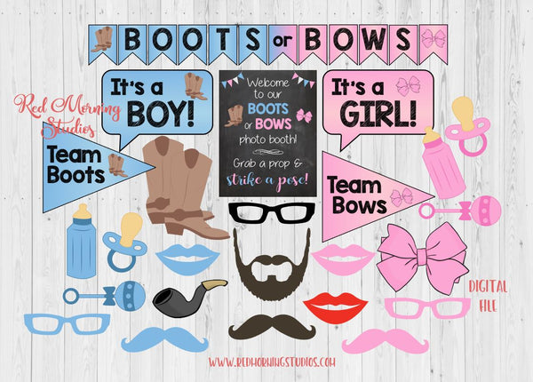 Boots or Bows Photo Booth Props. PRINTABLE. Boots or Bows Gender Reveal Party photo booth. photobooth. party games. decorations.