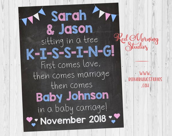 Sitting in a Tree Pregnancy Announcement Sign. First Comes Love, then comes marriage poster. Pregnancy Reveal Song sign. New Baby