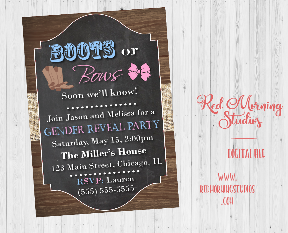 Boots or Bows? Soon we'll know! Gender Reveal Party Invitation PRINTABLE baby shower invite digital boy or girl he or she what will it be