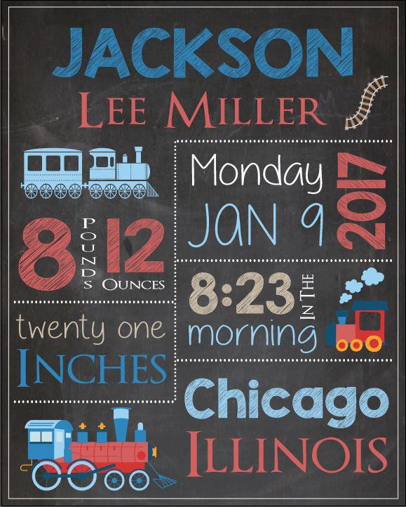 Train Birth Announcement Sign. PRINTABLE new baby train nursery theme art print.  DIGITAL train birth stats chalkboard print