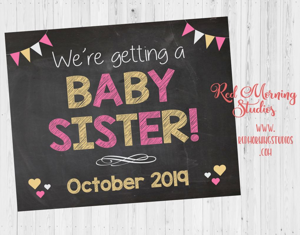 Siblings Baby Sister Pregnancy Announcement sign. PRINTABLE sibling We're Getting a New Baby sign. girl gender reveal for brother photo prop