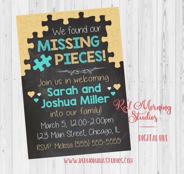 Adoption Invitation for Multiple Children. PRINTABLE. Missing Pieces adoption party for siblings. announcement invite DIGITAL adopt shower