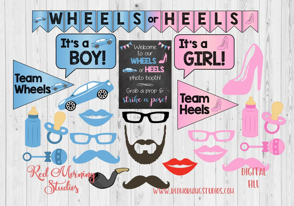 Wheels Or Heels Gender Reveal Photo Booth Props Printable Red