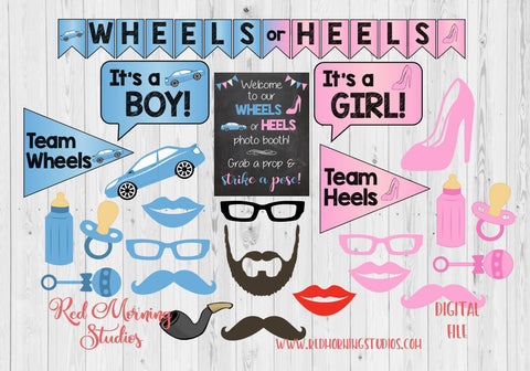 Wheels or Heels Photo Booth Props. PRINTABLE. Wheels or Heels Gender Reveal Party photo booth. photobooth. party games. decorations.