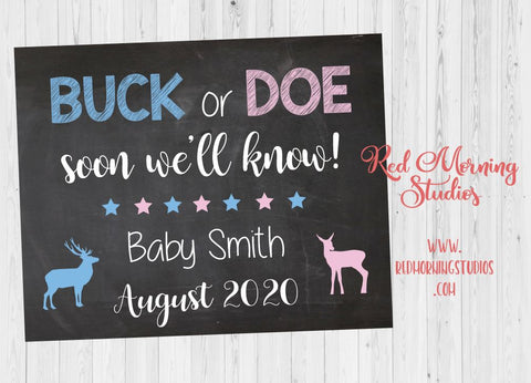 Hunting Pregnancy Announcement Sign. Buck or Doe pregnancy reveal. new baby chalkboard poster Buck or Doe Soon we'll know