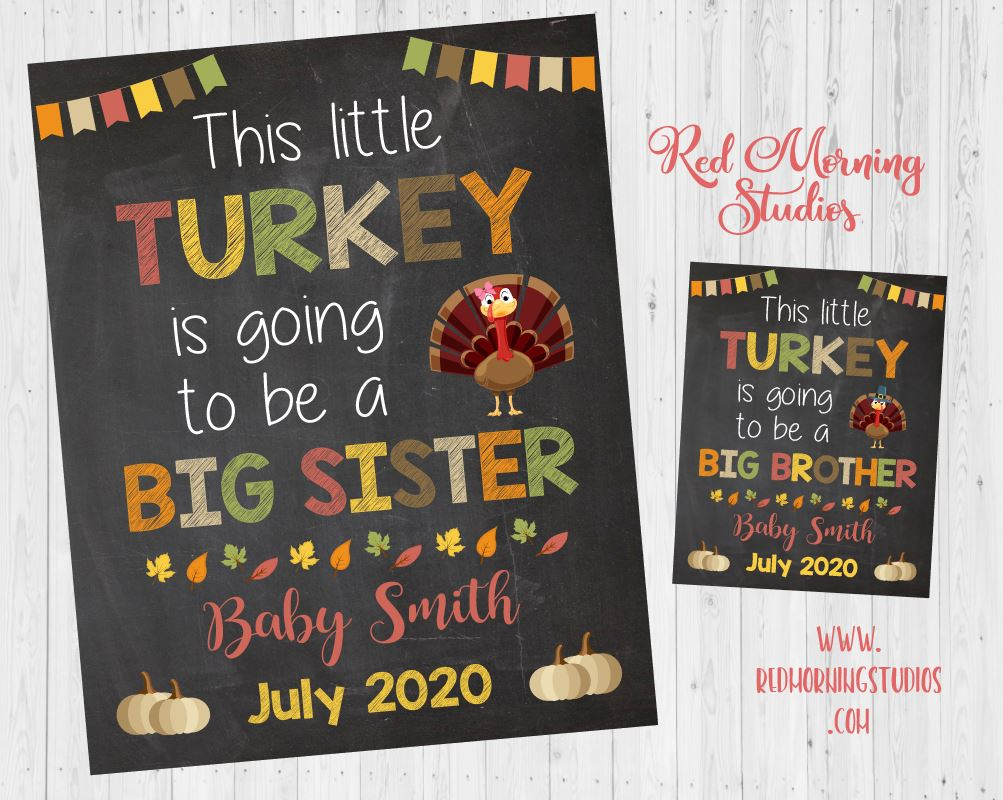 Thanksgiving Big Sister Announcement Sign. Thanksgiving pregnancy reveal sign. this little turkey. new baby sibling reveal. photo prop