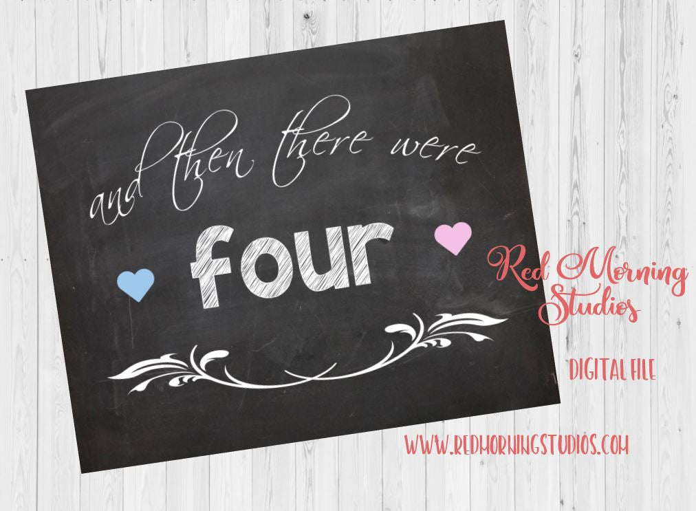 Second Child Pregnancy Announcement sign. PRINTABLE. And then there were four. 4 pregnancy reveal poster. Family of four