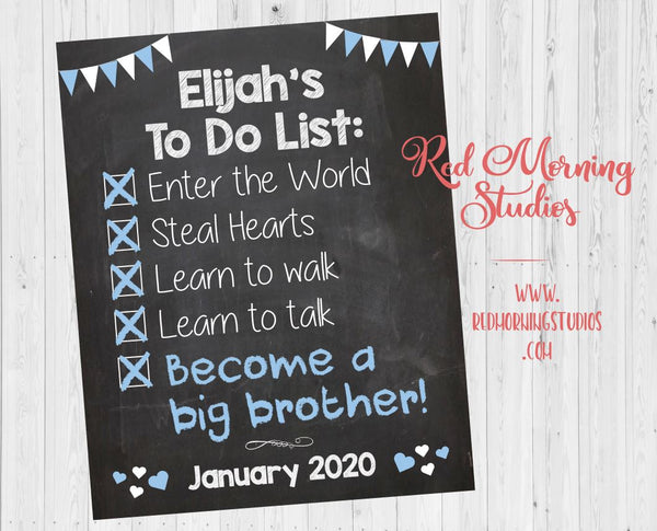 Big Brother To Do List Announcement Sign. Brother Checklist poster. Pregnancy Announcement new baby poster. Pregnancy Reveal sign