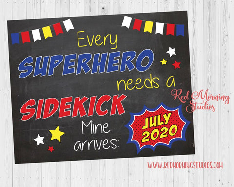Superhero Pregnancy Announcement Sign. Big Brother Pregnancy Reveal. Every Superhero needs a Sidekick new baby chalkboard poster big brother