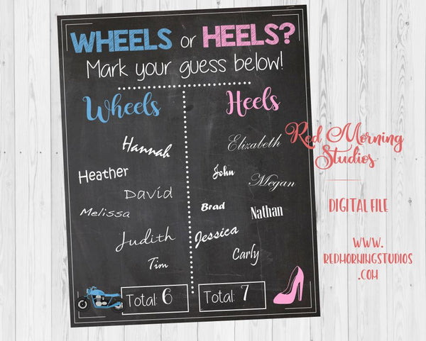 Wheels or Heels Motorcycle Gender Reveal Guess sign - PRINTABLE