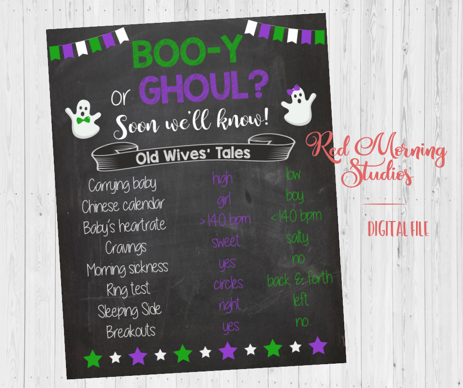 Halloween Old Wives' Tales sign - PRINTABLE - Green and Purple