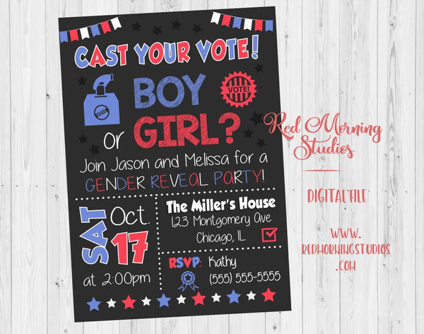 Gender Reveal Invitation. PRINTABLE Cast Your Vote Gender Reveal Party Invitation. Cast Your Vote Baby Shower invite boy or girl. election