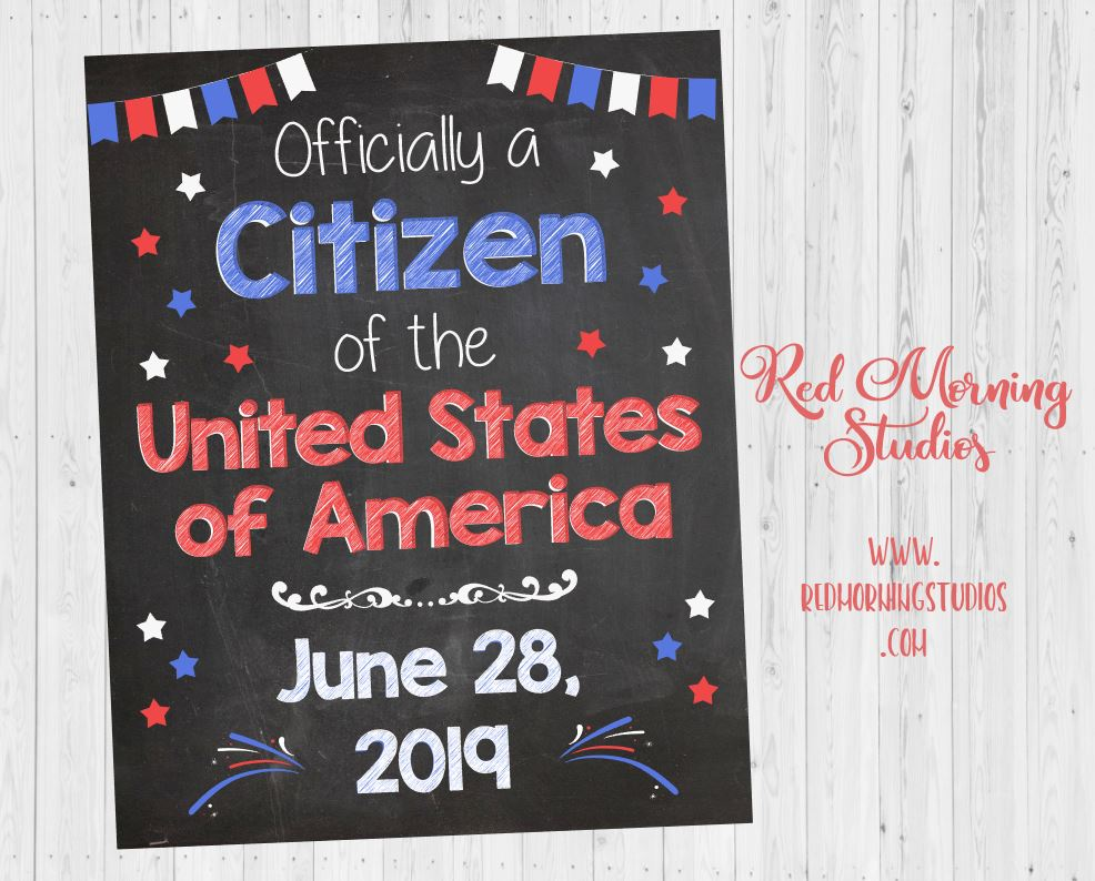 New Citizen Sign. United States Naturalization announcement sign. Printable. New US Citizen gift. DIGITAL us usa