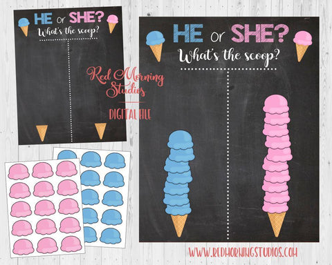 Ice Cream Scoop Gender Reveal. PRINTABLE. What's the scoop Gender Reveal. Ice Cream Scoops guess sign. sundae baby shower poster boy or girl