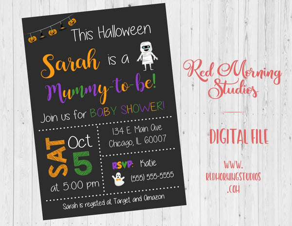 Halloween Baby Shower Invitation. PRINTABLE. Mummy To Be Baby Shower Invite. digital gender reveal invitation