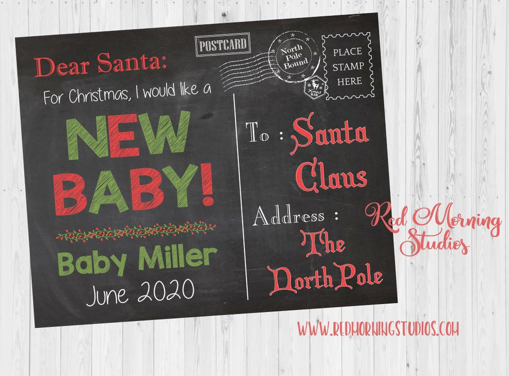 Dear Santa Letter New Baby Sign. Christmas Pregnancy Announcement sign. Christmas Pregnancy Reveal from big sibling. I want a new baby