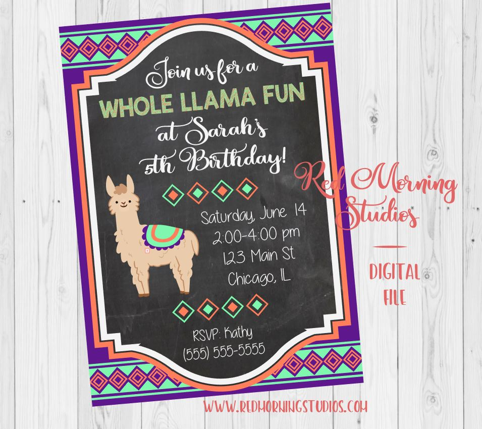 Llama Birthday Invitation. PRINTABLE. llama birthday party. alpaca birthday invitation. peru birthday invitation. trendy birthday theme