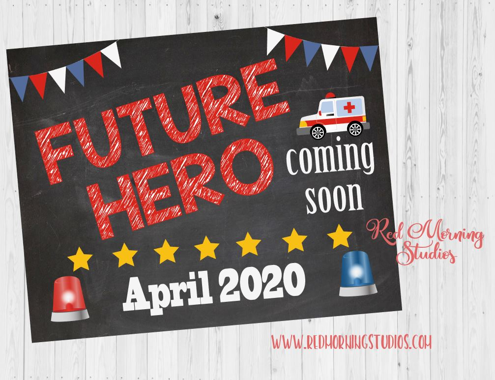 EMT Pregnancy Announcement Sign. Paramedic pregnancy reveal poster. Future Hero Coming Soon. Ambulance new baby