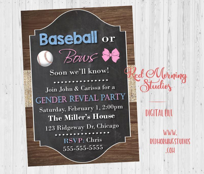 Baseball or Bows Gender Reveal Party Invitation PRINTABLE. Baseball gender reveal party. baby shower invite digital boy or girl