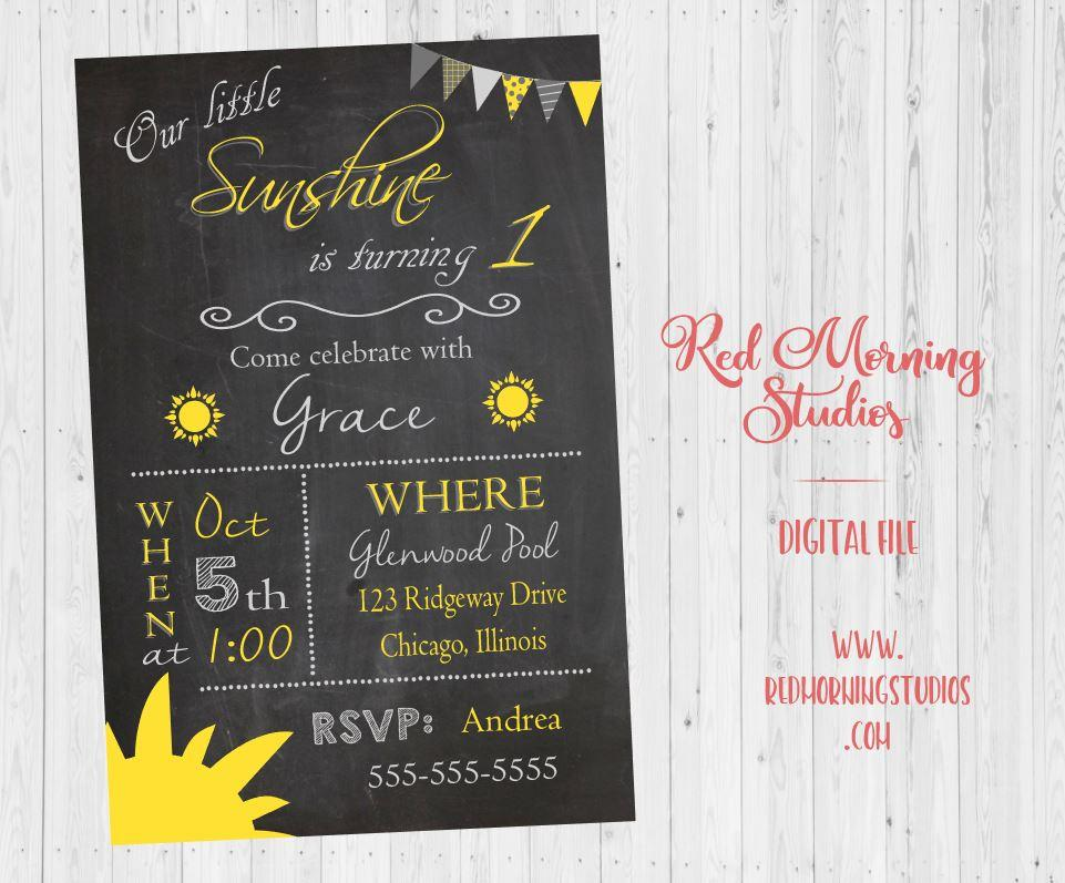 You are my Sunshine Birthday Invitation printable our little sunshine first birthday DIGITAL
