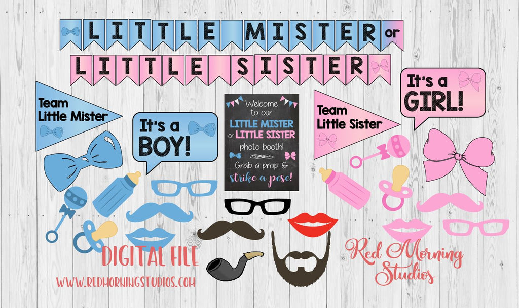 Little Mister or Little Sister Photo Booth Props. PRINTABLE. second child Gender Reveal Party. photobooth. party games. decorations.