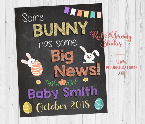Easter 2nd child Pregnancy Reveal poster. Easter pregnancy announcement sign. Spring New baby photo prop. some bunny has big news.