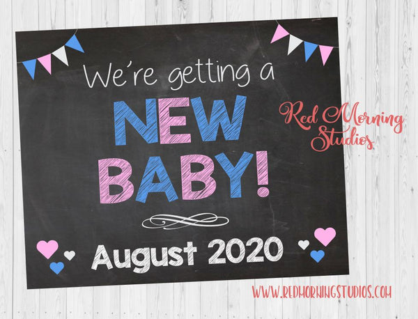 Siblings Pregnancy Announcement sign. Sibling We're Getting a New Baby poster. Big brothers and sisters pregnancy reveal