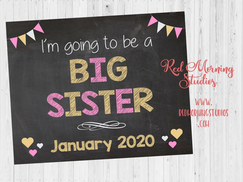 Big Sister Announcement Sign.  new baby pregnancy announcement sign. Pregnancy Reveal poster. I'm going to be a. maternity photo prop