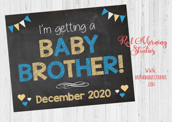 Baby Brother Pregnancy Announcement sign. I'm Getting a Baby Brother pregnancy reveal poster. Big Sibling Announcement photo. New Baby