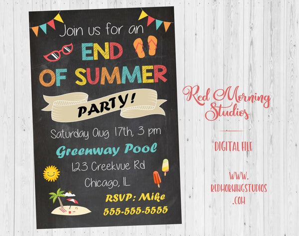 End of Summer Party Invitation. PRINTABLE end of summer invitation. back to school invite. first day of school party invitation. new year