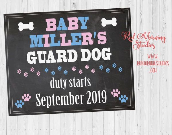 Guard Dog Duty Pregnancy Announcement Sign. Dog Pregnancy Reveal sign. PRINTABLE personalized new baby chalkboard poster. Guard Dog duty