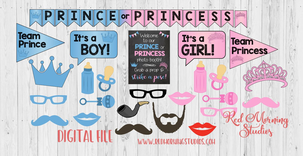 Prince Or Princess Gender Reveal Photo Booth Props Printable Red