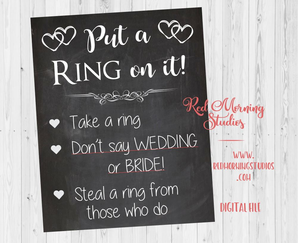 Don't Say Bride Bridal Shower game sign. Put a ring on it. PRINTABLE. wedding shower game. bridal shower ring game. chalkboard