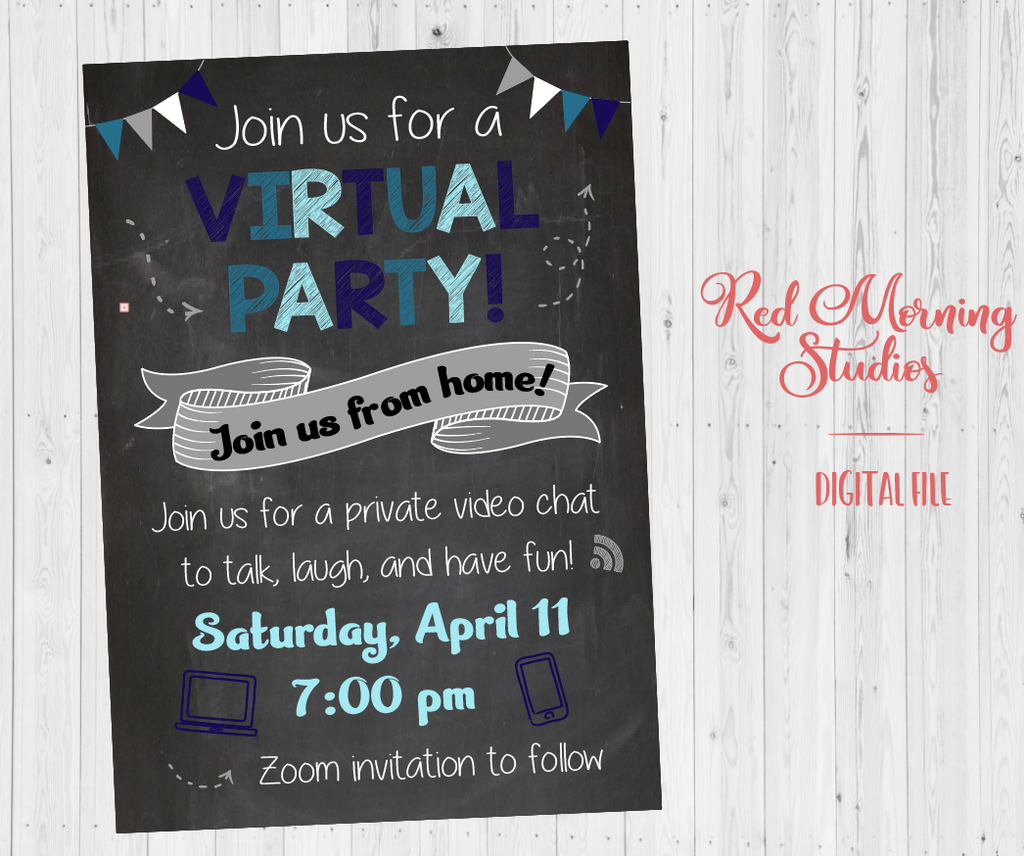 Virtual Party Invitation. DIGITAL. Online Game Night Party Invitation. Video Chat Party. Social Distancing party.